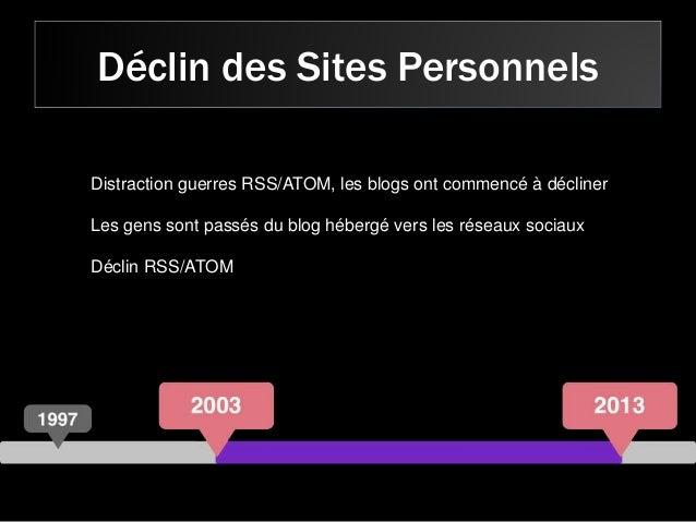 Déclin des Sites Personnels Distraction guerres RSS/ATOM, les blogs ont commencé à décliner Les gens sont passés du blog h...
