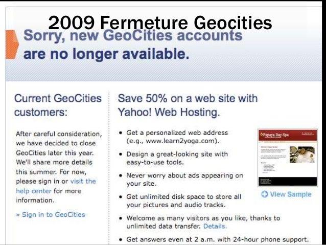 2009 Fermeture Geocities