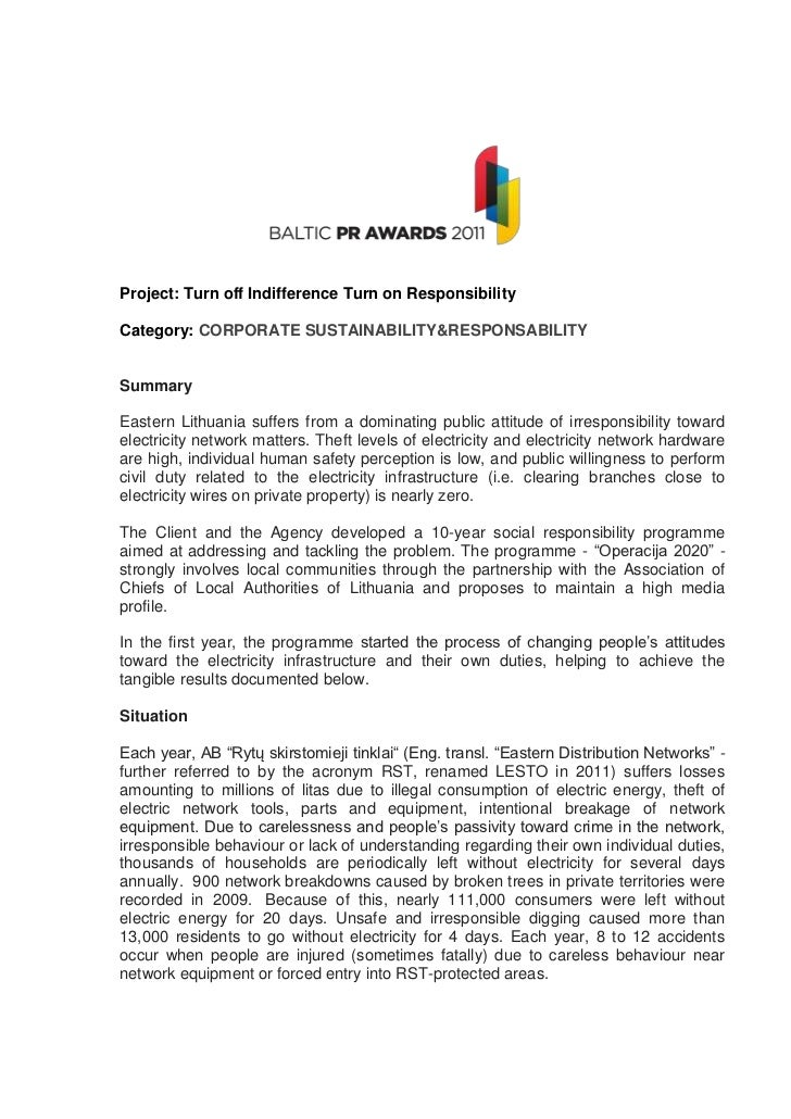Project: Turn off Indifference Turn on ResponsibilityCategory: CORPORATE SUSTAINABILITY&RESPONSABILITYSummaryEastern Lithu...