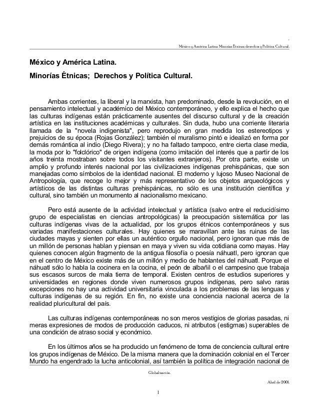 - México y América Latina Minorías Étnicas; derechos y Política Cultural. México y América Latina. Minorías Étnicas; Derec...