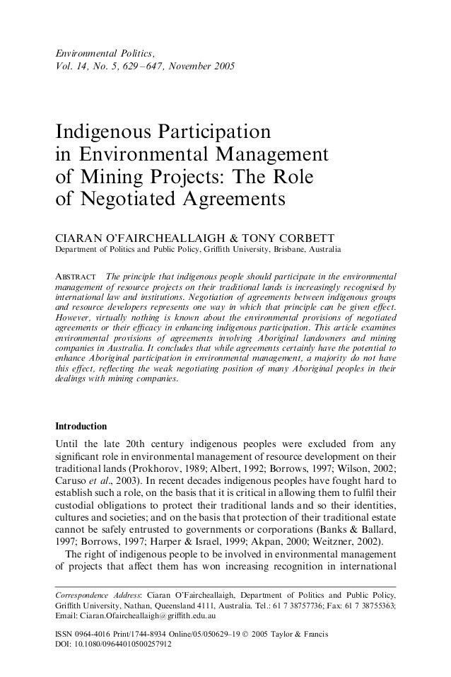 Indigenous Participation in Environmental Management of Mining Projects: The Role of Negotiated Agreements CIARAN O'FAIRCH...
