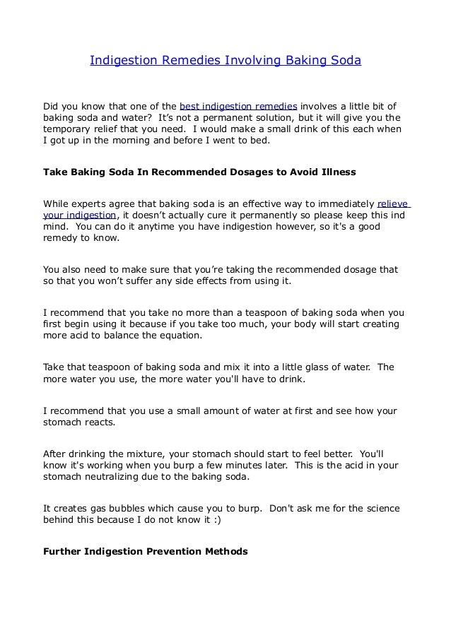 Indigestion Remedies Involving Baking Soda