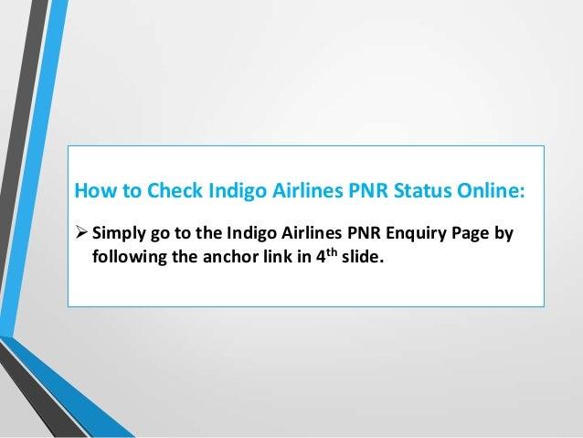 Indigo airlines pnr status enquiry