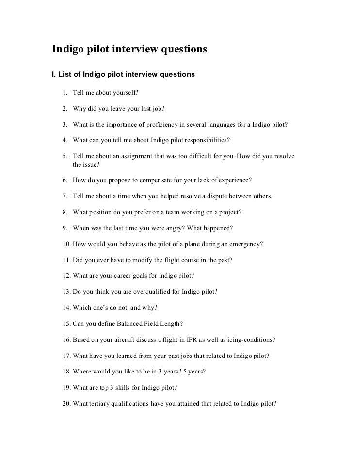 indigo pilot interview questionsi list of indigo pilot interview questions 1 - Airline Pilot Job Interview Questions And Answers