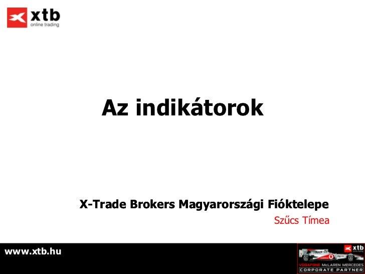 Az indikátorok             X-Trade Brokers Magyarországi Fióktelepe                                            Szűcs Tímea...
