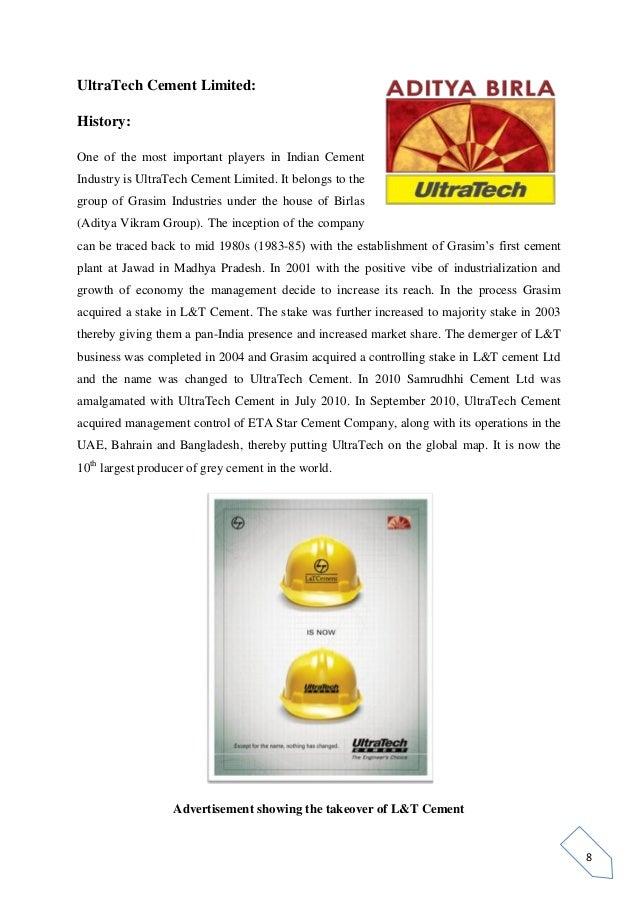 Ultratech Cement History : Indi projct cement