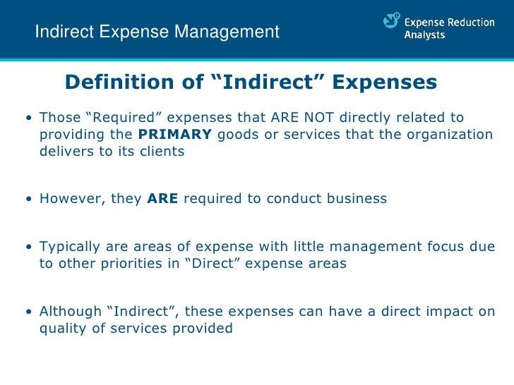... 4. Indirect Expense Management Definition ...