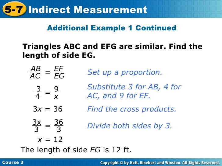 Indirect measurement – Indirect Measurement Worksheet