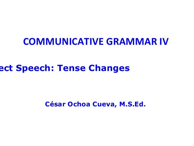 COMMUNICATIVE GRAMMAR IVect Speech: Tense Changes        César Ochoa Cueva, M.S.Ed.
