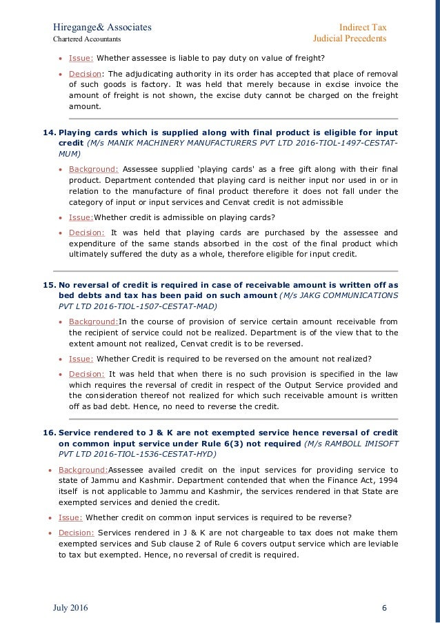Indirect Tax_ Latest Judicial Precedents July 2016