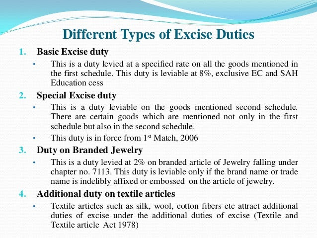 Analysis of Excise duty act, 2015