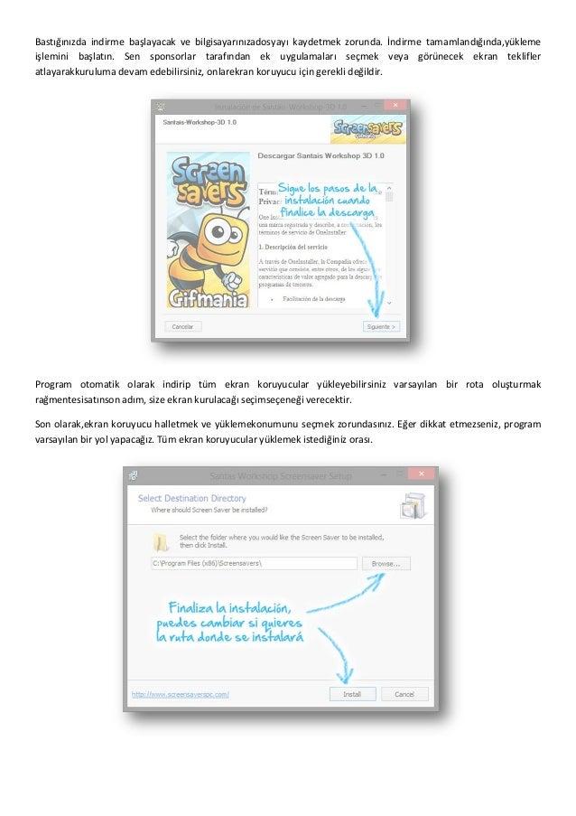 Indirmek ve ekran kurulum kılavuzu - Ekran koruyucular Slide 2