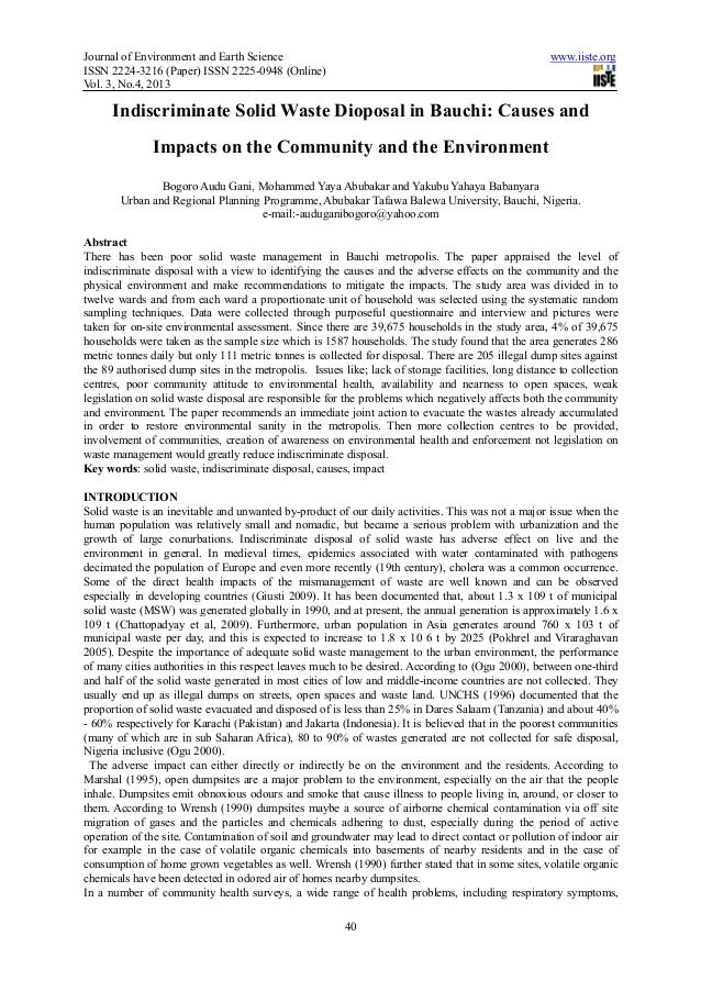 Journal of Environment and Earth ScienceISSN 2224-3216 (Paper) ISSN 2225Vol. 3, No.4, 2013Indiscriminate Solid Waste Diopo...