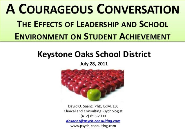 A COURAGEOUS CONVERSATION THE EFFECTS OF LEADERSHIP AND SCHOOL ENVIRONMENT ON STUDENT ACHIEVEMENT Keystone Oaks School Dis...