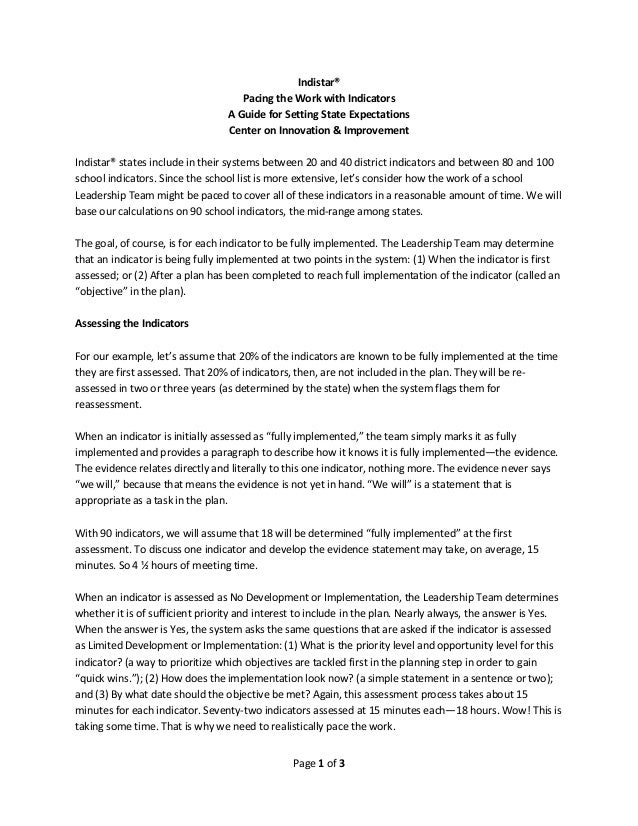 Page 1 of 3 Indistar® Pacing the Work with Indicators A Guide for Setting State Expectations Center on Innovation & Improv...