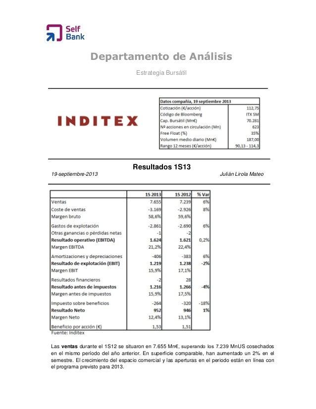 Departamento de Análisis Estrategia Bursátil Resultados 1S13 19-septiembre-2013 Julián Lirola Mateo Las ventas durante el ...