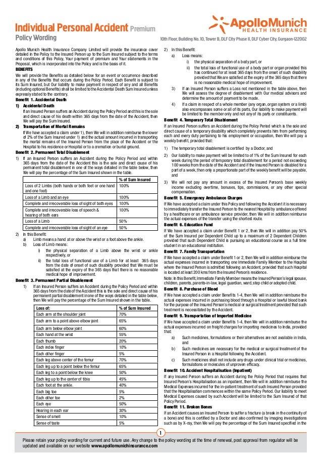 Individual Personal Accident PremiumApollo Munich Health Insurance Company Limited will provide the insurance cover       ...