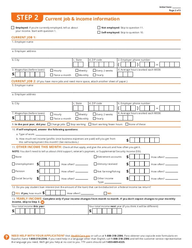 Health Insurance (Obamacare) Individual short-form from Healthcare.gov