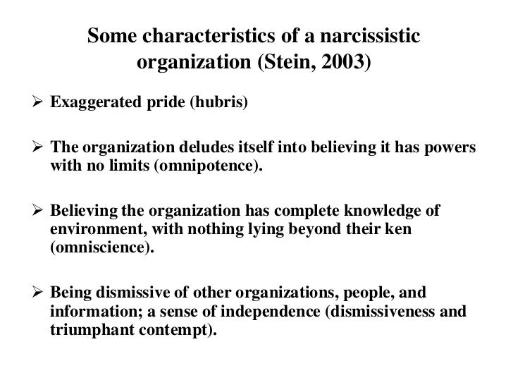 Characteristics of a narcissist