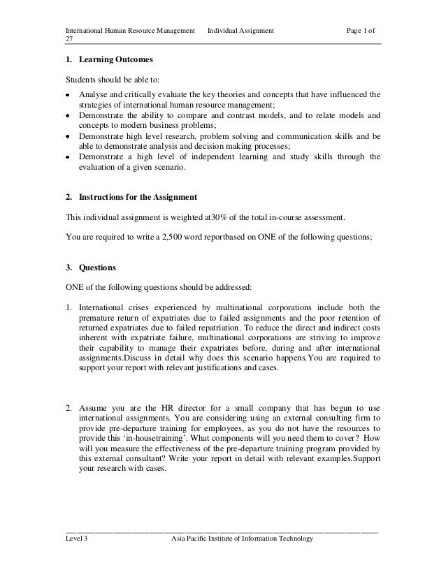 International Human Resource Management   Individual Assignment                   Page 1 of271. Learning OutcomesStudents ...
