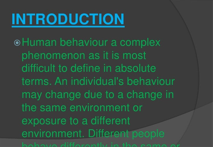 Individual behavor Slide 2