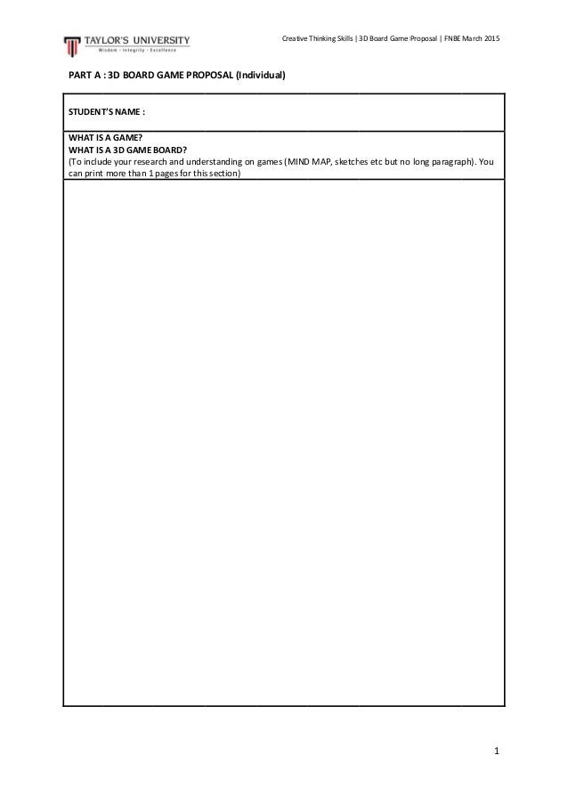 Individual Board Game Proposal Template March 2015