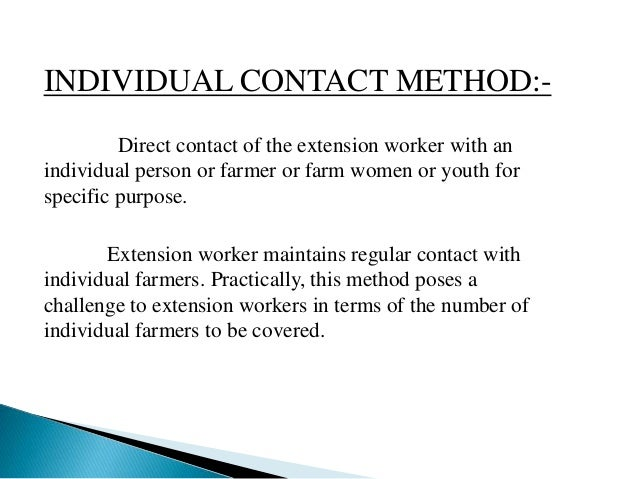 Individual contact method in Extension Education Slide 2