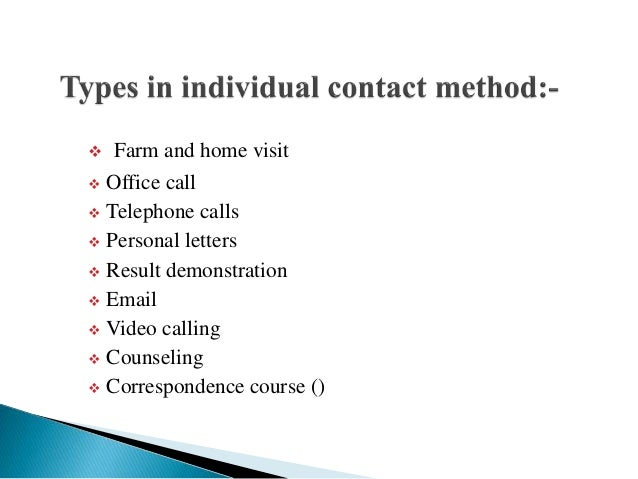 Individual contact method in Extension Education Slide 3