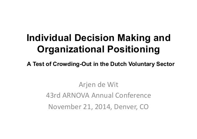 individual decision making in organizations Managers and leaders can take actions that support group decision making and lead to good decision outcomes individual motivation, and job performance.