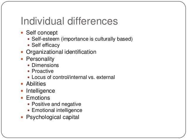 individual differences Definition of individual differences according to the dictionary of education individual differences stand for the variation or deviations among individuals in regard to a single characteristic or number of characteristics.