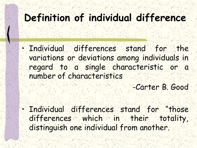 Individual Difference And Educational Implications