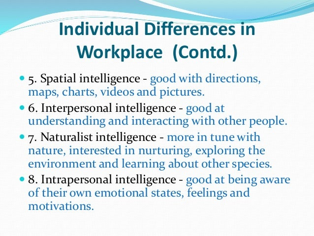 individual difference Individual differences these 9 basic dimensions differentiate us from one another posted jan 12, 2018.