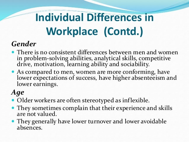 individual differences affecting motivation in work place But the evidence suggests it undermines our intrinsic motivations  the  combined dataset included over 15,000 individuals and 115 correlation  coefficients  which reports no significant difference in employee engagement  by pay level  if we want an engaged workforce, money is clearly not the answer.