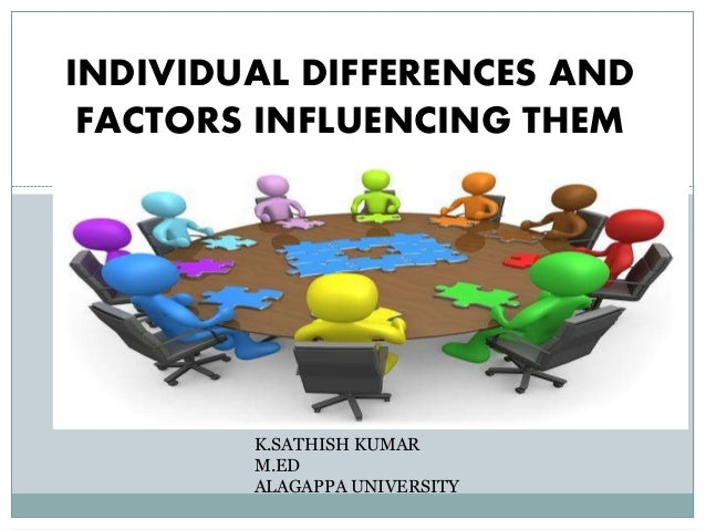 INDIVIDUAL DIFFERENCES AND FACTORS INFLUENCING THEM K.SATHISH KUMAR M.ED ALAGAPPA UNIVERSITY