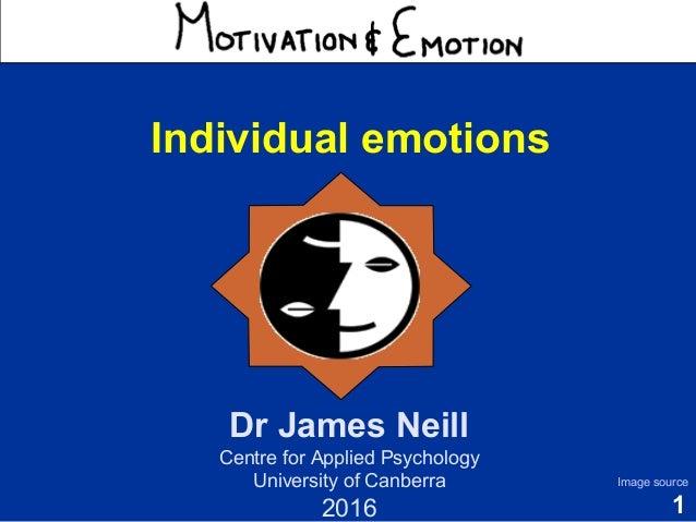 1 Motivation & Emotion Dr James Neill Centre for Applied Psychology University of Canberra 2016 Image source Individual em...
