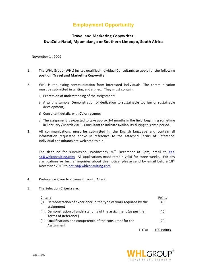 Employment Opportunity                               Travel and Marketing Copywriter:                KwaZulu-Natal, Mpumal...