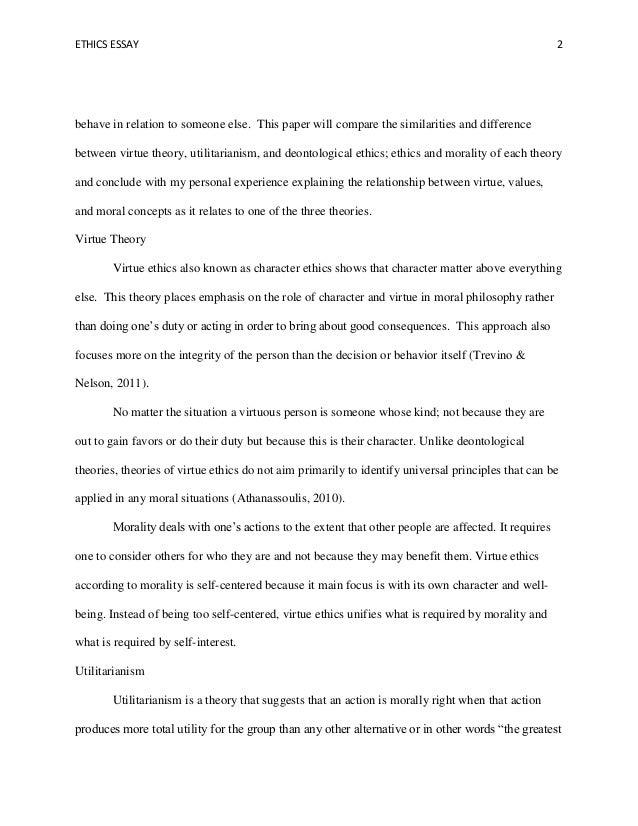 Utilitarianism and deontology morality essay