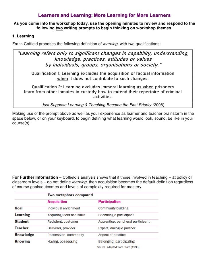 Learners and Learning: More Learning for More Learners<br />As you come into the workshop today, use the opening minutes t...