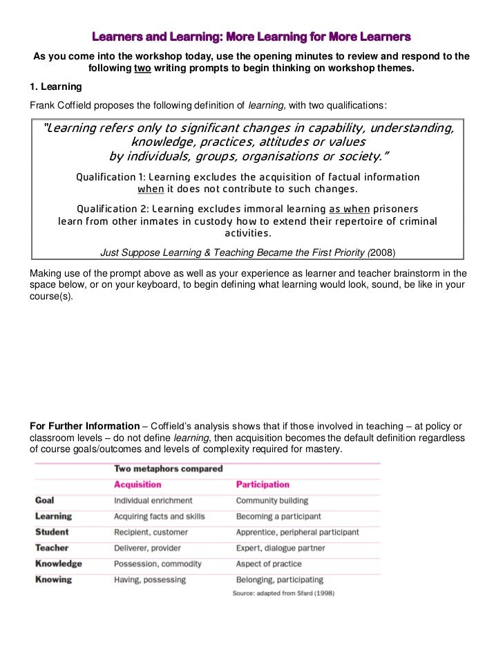 Learners and Learning: More Learning for More LearnersAs you come into the workshop today, use the opening minutes to revi...