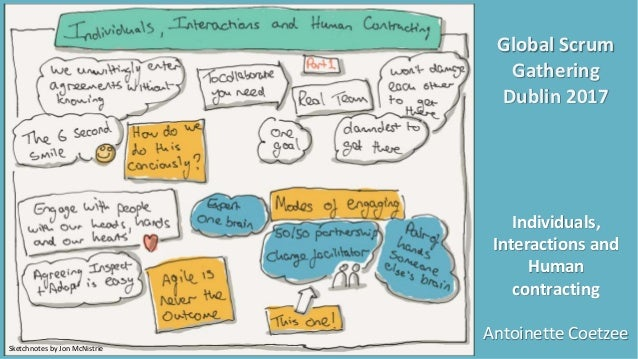 Global Scrum Gathering Dublin 2017 Individuals, Interactions and Human contracting Antoinette Coetzee Sketchnotes by Jon M...