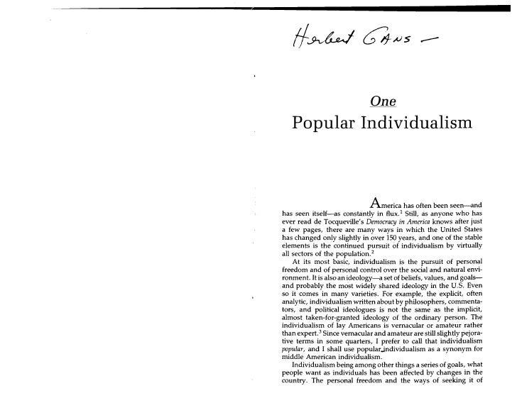 !f~M~s ..-                                 One    Popular Individualism                                   America has oft...