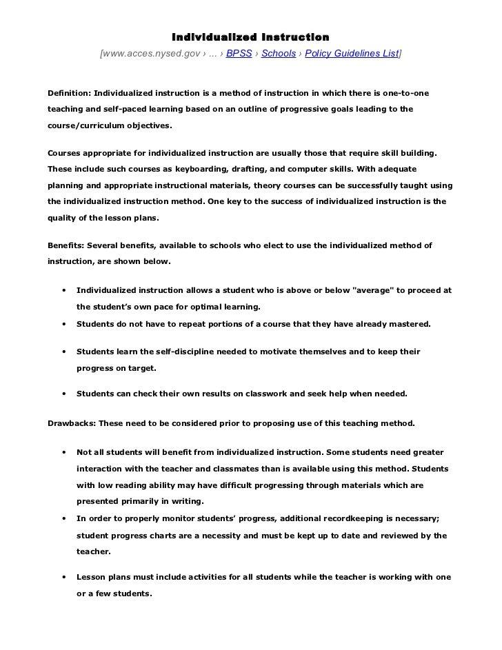 Individualized instruction   teaching method   globalization.