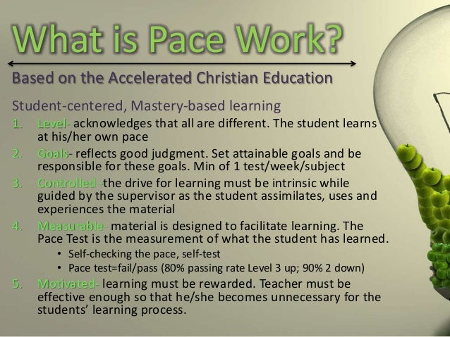 What Is Pace >> Individualized Pace Work
