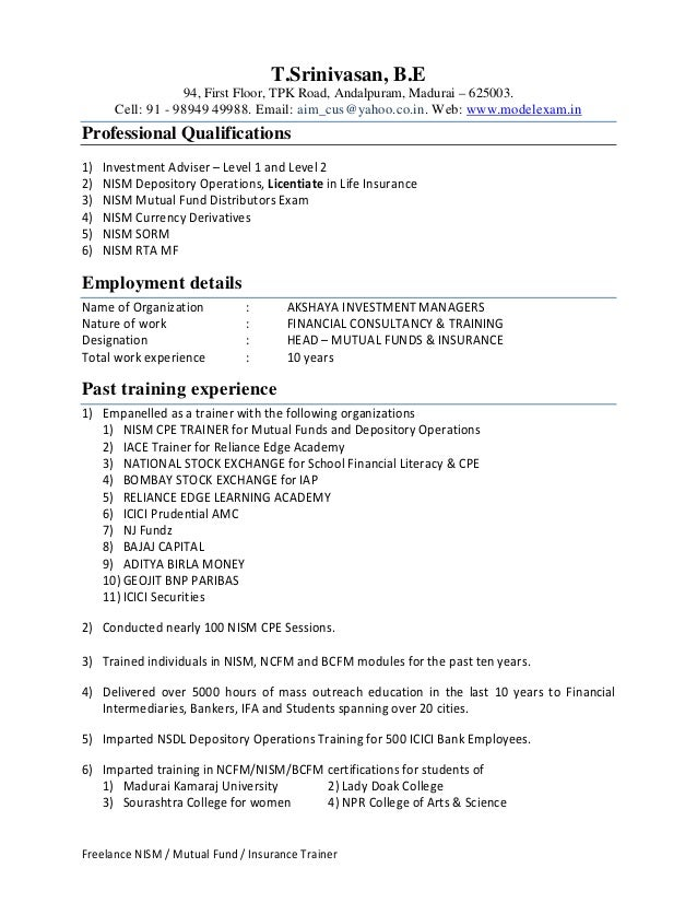 Insurance Trainer Resume Images Resume Format Examples 2018