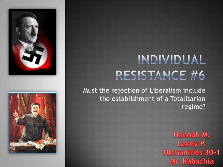 Individual Resistance #6<br />Must the rejection of Liberalism include the establishment of a Totalitarian regime?<br />Ha...