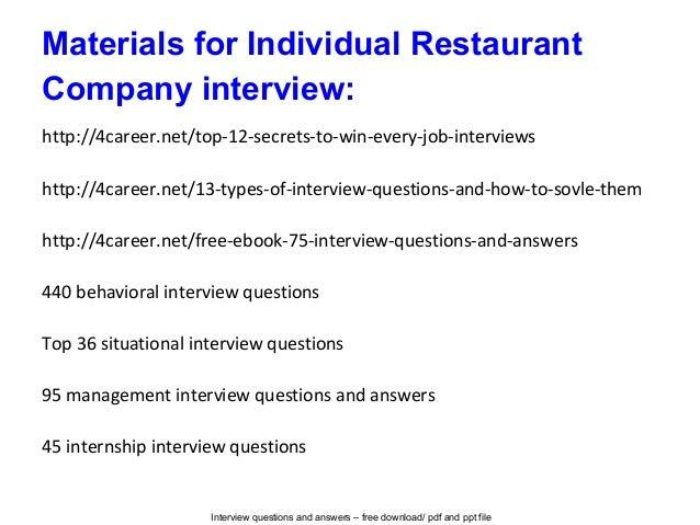 interview questions in restaurant
