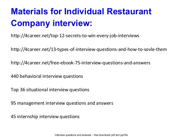 High Quality Interview Questions For Restaurant Jobs. Individual Restaurant Company Interview  Questions And Answers . Interview Questions For Restaurant Jobs Ideas Restaurant Interview Questions