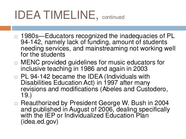 individuals with disabilities education act The individuals with disabilities education act (idea) is our nation's primary  special education law idea guides how states, school districts, and public  agencies.