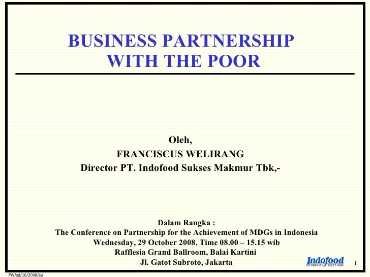 BUSINESS PARTNERSHIP                          WITH THE POOR                                                Oleh,          ...