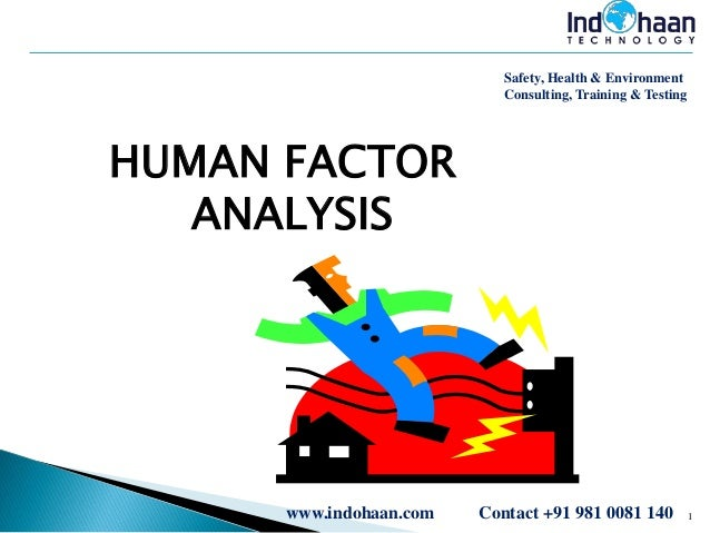 Safety, Health & Environment Consulting, Training & Testing  HUMAN FACTOR ANALYSIS  www.indohaan.com  Contact +91 981 0081...